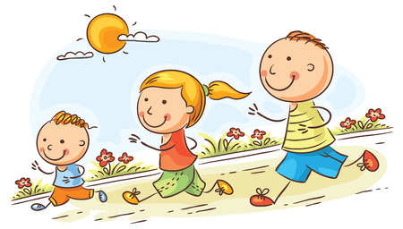 one child: Happy cartoon family jogging together, no gradients Illustration