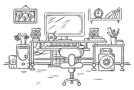 white office: Workplace with a computer table, black and white drawing