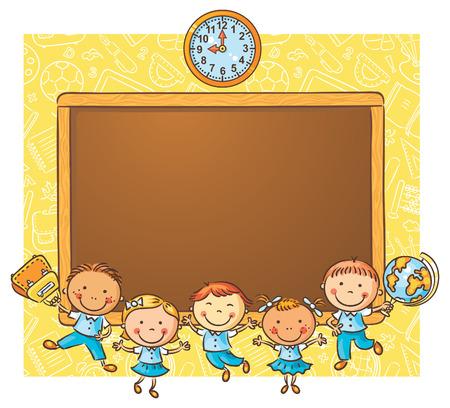 コピー スペース フレームとして黒板を使って幸せな子どもたち