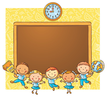 Happy schoolkids with a blackboard as a frame with a copy space Vectores
