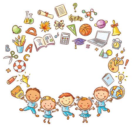 niños con lÁpices: Schoolkids felices con un montón de cosas de la escuela como un marco con un espacio de copia, aislado en blanco