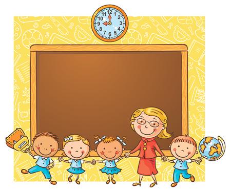 niño parado: Schoolkids felices con su profesor en la pizarra como un marco con un espacio de copia