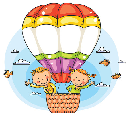 hot boy: Happy cartoon kids travelling by air with copy space across the balloon