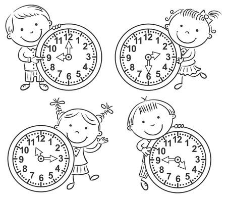 cartoon clock: Little kids telling time set, black and white outline Illustration