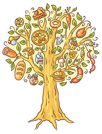 burger cartoon: Colorful cartoon drawing of lots of ready-made food growing on tree Illustration