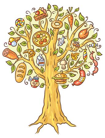 zanahoria caricatura: Dibujo colorido de dibujos animados de los lotes de alimentos precocinados que crecen en �rbol