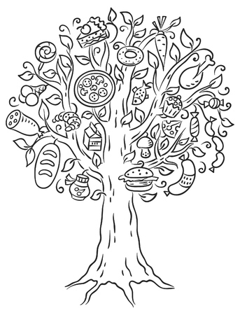 readymade: Black and white drawing of lots of ready-made food growing on tree