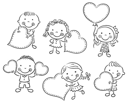 Cartoon kids with blank signs in the form of hearts, black and white outline