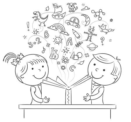 Dzieci: Dzieci czyta książkę razem, czarno-biały szkic Ilustracja