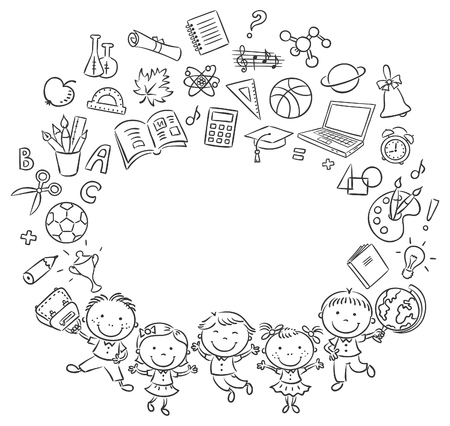 Happy schoolkids with a lot of school things as a frame with a copy space, black and white outline