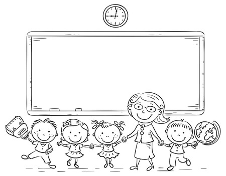 people in line: Schoolkids and teacher at the blackboard, black and white outline