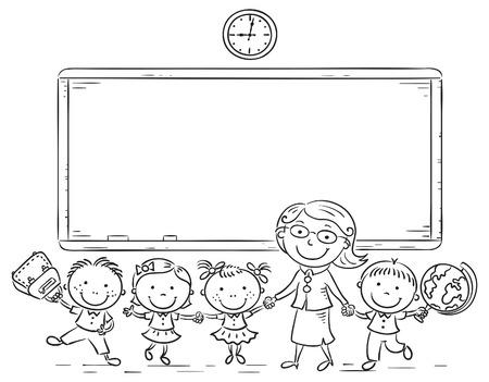 fila de personas: Schoolkids y profesor en la pizarra, esquema blanco y negro