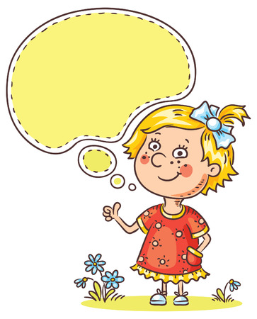 approvement: Happy little girl with a speech bubble showing sign of approvement Illustration
