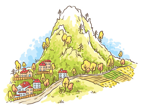 mountain view: Cartoon town at the foot of the mountain, no gradients