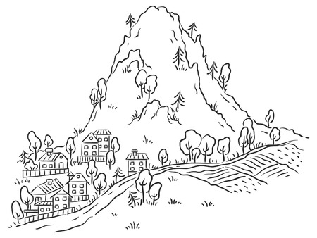 mountain road: Cartoon town at the foot of the mountain, black and white outline