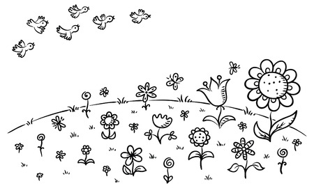 illustration line art: Flowers on a hill and flying birds, can be used as a pattern or background