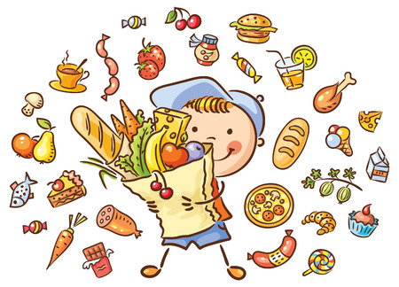 cartoon food: Happy child with a big bag full of food and isolated food set