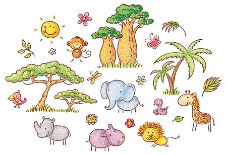 serpiente caricatura: Conjunto de dibujos animados animales y plantas exóticos africanos, no degradados Vectores