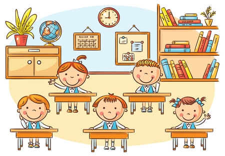 school globe: Little cartoon kids in the classroom at the lesson, no gradients Illustration