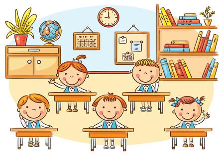 salon de clases: Pequeños niños de dibujos animados en el aula en la lección, no degradados