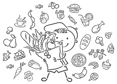 ingredients: Happy child with a big bag full of food and isolated food set, black and white outline