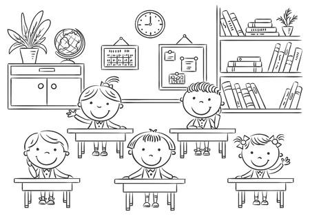 salle de classe: Les petits enfants de bande dessinée dans la salle de classe à la leçon, contour noir et blanc