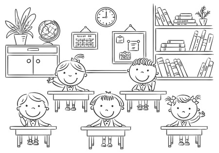 niño y niña: Pequeños niños de dibujos animados en el aula en la lección, esquema blanco y negro