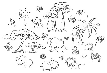 Set of cartoon exotic African animals and plants, black and white outline Vectores