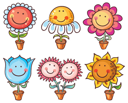 Flowers in pots as happy cartoon characters with faces Çizim