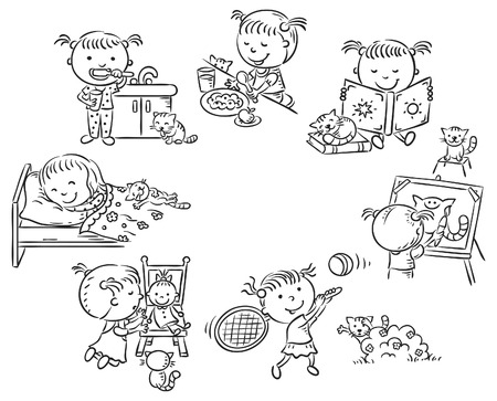 friends eating: Little girls daily activities, black and white outline