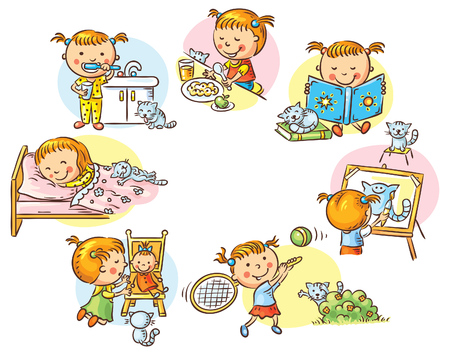 Little girl's daily activities, no gradients 일러스트