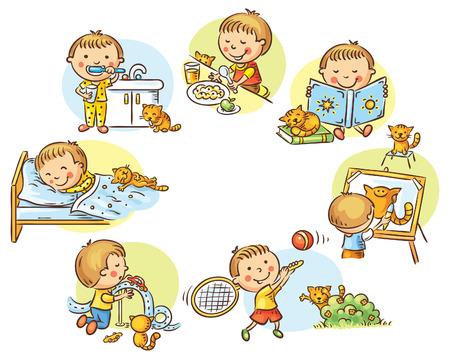 ni�os desayuno: Las actividades diarias del ni�o peque�o, no degradados