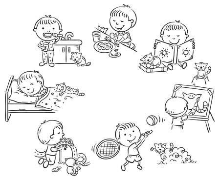 Little boy's daily activities, black and white outline
