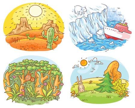 meteo: Set di quattro diverse zone climatiche - deserto, Artico, giungla e clima mite, disegno a fumetti Vettoriali