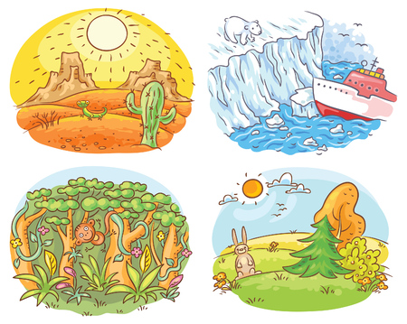 climatic: Set of four different climatic zones - desert, Arctic, jungle and moderate climate, cartoon drawing Vectores