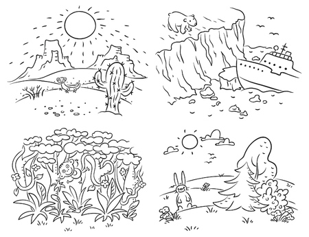 climatic: Set of four different climatic zones - desert, Arctic, jungle and moderate climate, black and white outline Illustration