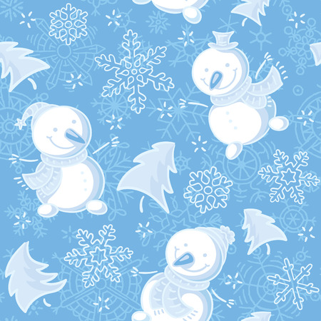 firtrees: Seamless pattern with snowmen, snowflakes and fir-trees