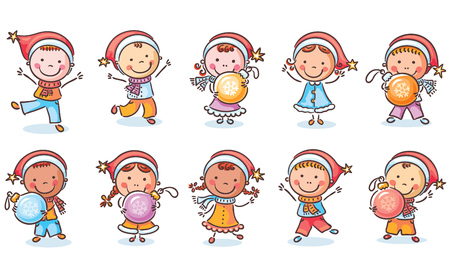 happy new year cartoon: Set of cartoon kids in Santa hats and with Christmas ornaments