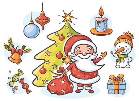 campanas: Conjunto de dibujos animados con Santa, muñeco de nieve, vela, presentes, árbol de Navidad y adornos Vectores