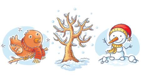 winter tree: Set of cartoon winter elements - tree, bird and snowman, no gradients