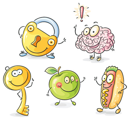 diet cartoon: Set of objects as cartoon characters with eyes and hands, no gradients