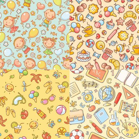 school bag: Conjunto de patrones de colores sin fisuras con los ni�os, dulces, verano y cosas de la escuela
