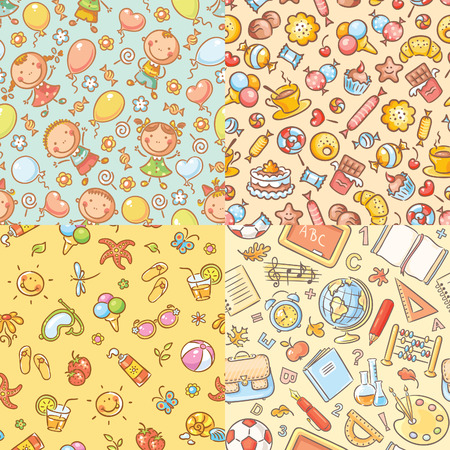strawberry cake: Set of seamless colorful patterns with kids, sweets, summer and school things