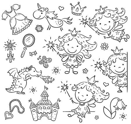 Kleine cartoon fee set met een kasteel, eenhoorn, draak en accessoires, zwart-wit schets