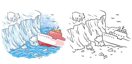 polar climate: Icebreaker meets a polar bear in the Arctic, cartoon drawing, both colored and black and white