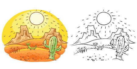 lijntekening: Hagedis en cactus in de woestijn, cartoon tekening, zowel kleur en zwart-wit