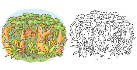 black and white line drawing: Happy monkey in the jungle, cartoon drawing, both colored and black and white Illustration