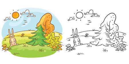 dia soleado: liebre de dibujos animados en la naturaleza en un día soleado, ambos de color y blanco y negro
