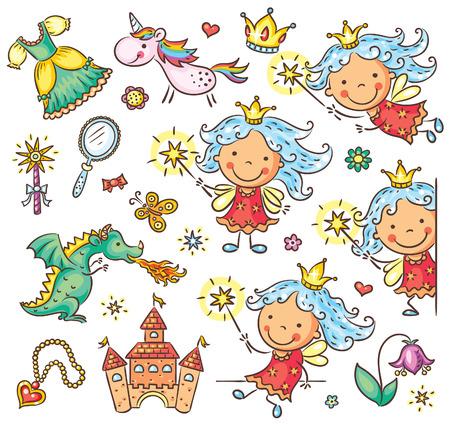 hadas caricatura: Pequeña hada de dibujos animados conjunto con un castillo, unicornio, dragón y accesorios Vectores
