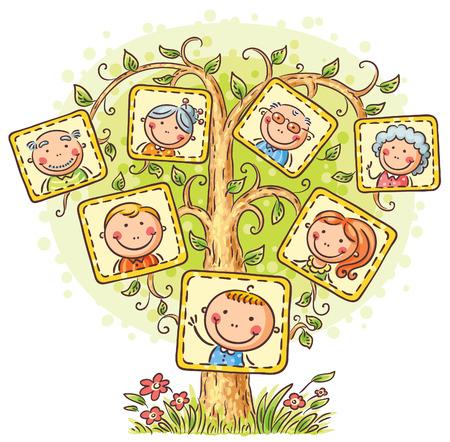 family: Árvore de família feliz em fotos, pequena criança com seus pais e avós